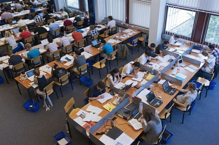 Students learning in the library