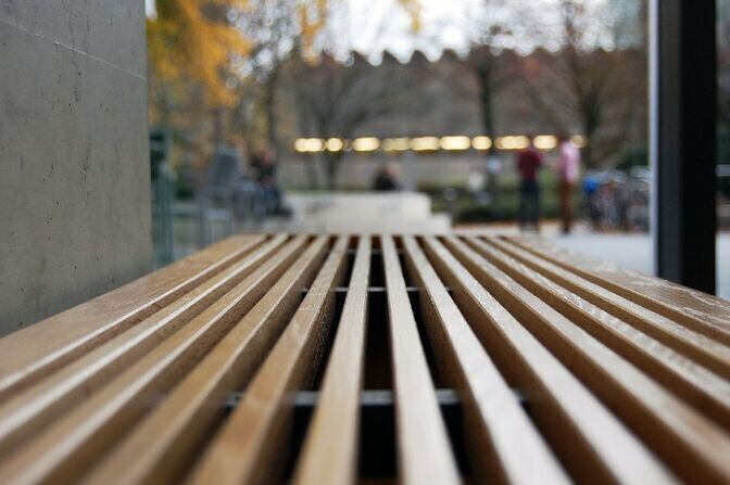 Wooden bench in the SuperC building